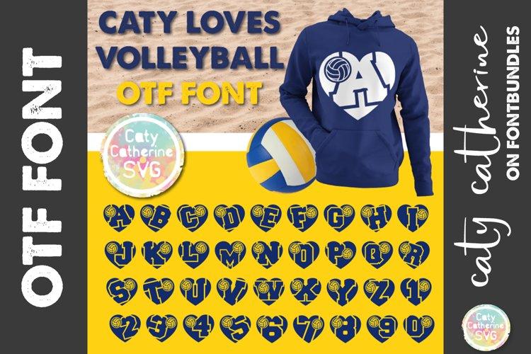 Caty Loves Volleyball Love Heart OTF Font A-Z & 0-9