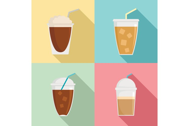 Ice coffee cream cold cup icons set, flat style example image 1
