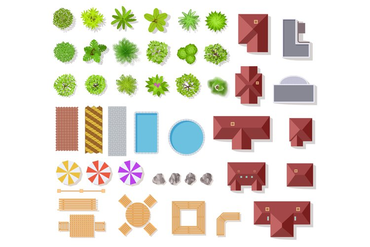 Top view garden elements. Aerial houses, green trees and bus example image 1
