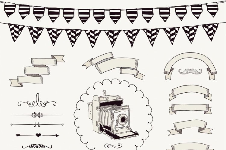 Hand Sketched Rustic Vintage Ribbons, Frames, Icons, Swirls. example image 1