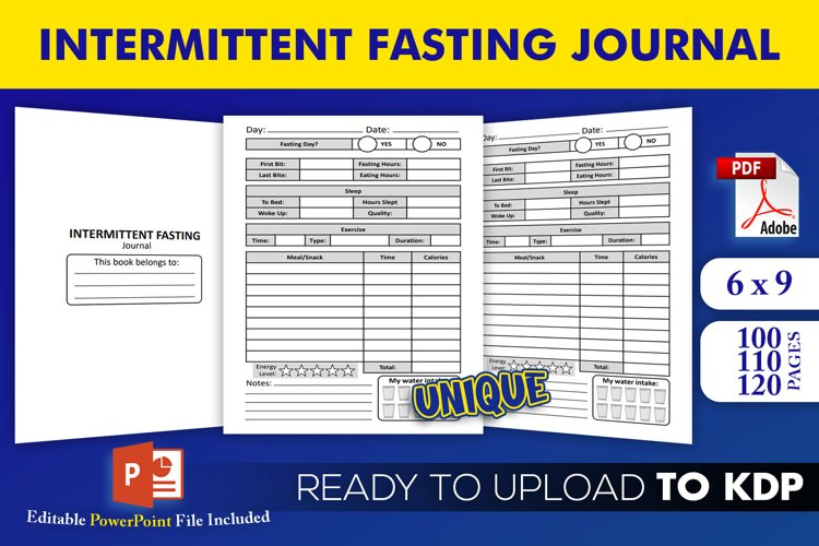 Intermittent Fasting Journal KDP Interior Template Editable example image 1