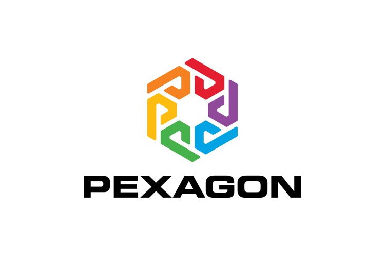 Letter P Colorful with Hexagon Logo example image 1