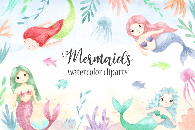Watercolor Mermaids. Kids Cliparts and Pattern example image 1