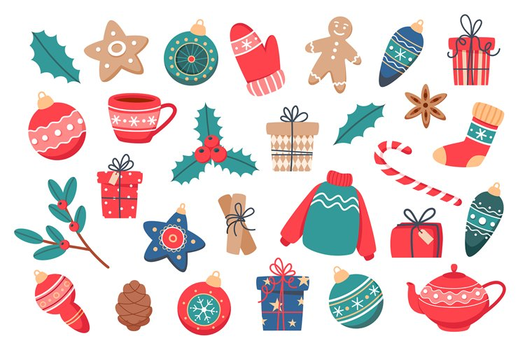 Set of Christmas elements in flat style