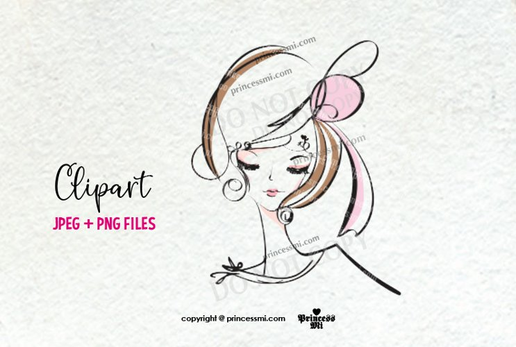 lady girl clipart, woman face clipart, doodle girl
