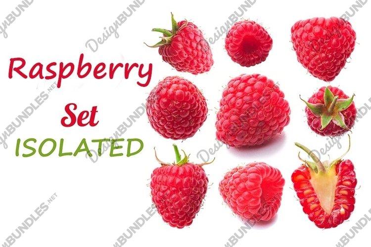 Set of raspberries isolated on white example image 1