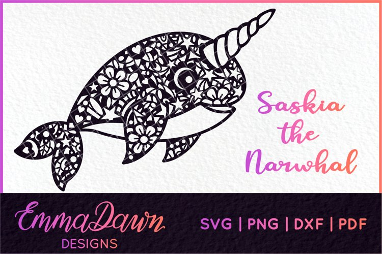 SASKIA THE NARWHAL SVG MANDALA / ZENTANGLE DESIGN example image 1