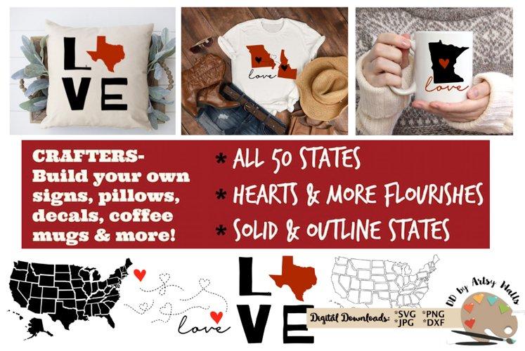 50 states bundle svg dxf United states svg silhouette cricut example image 1