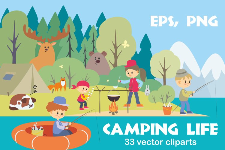 Camping life. Vector cliparts.