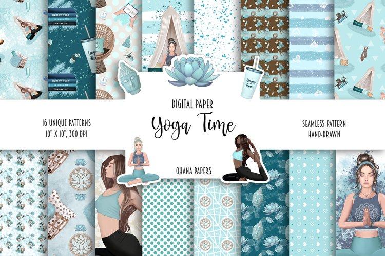 YOGA Digital Paper Pack - Pattern Fashion Illustration example image 1