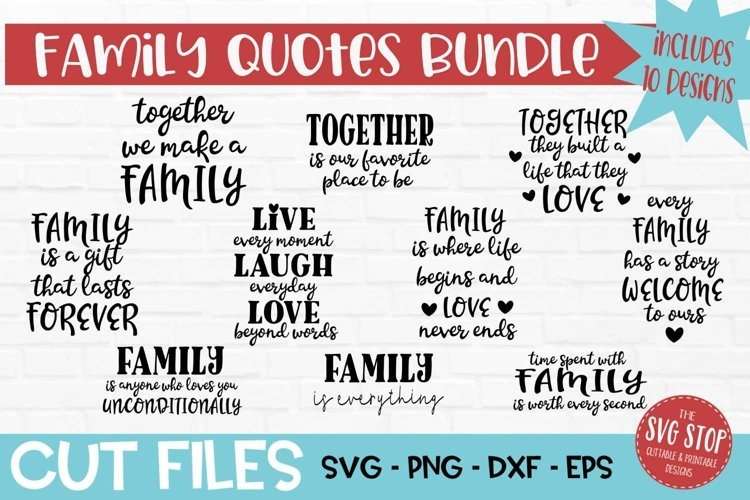 Family Quote Bundle SVG, PNG, DXF, EPS example image 1