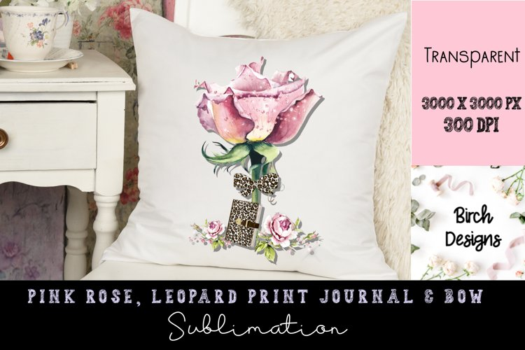 Pink Rose with Leopard Print Bow and Journal Design