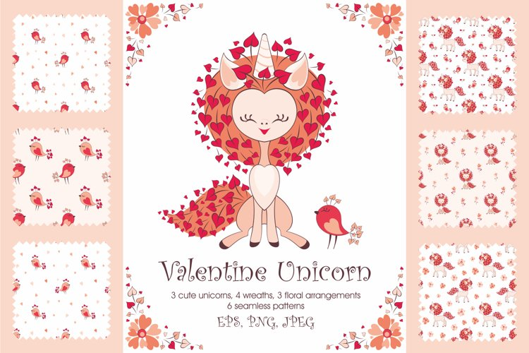 Valentine unicorn. Vector clip arts and seamless patterns example image 1