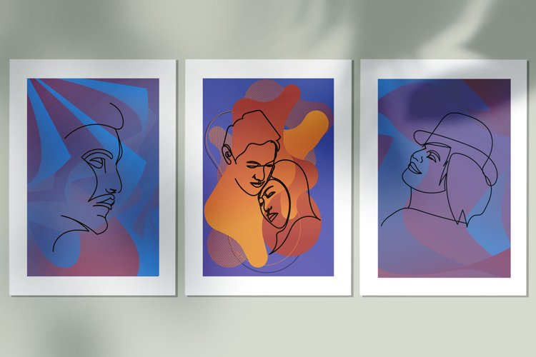 Abstract portraits wall art, Abstract modern painting print example image 1
