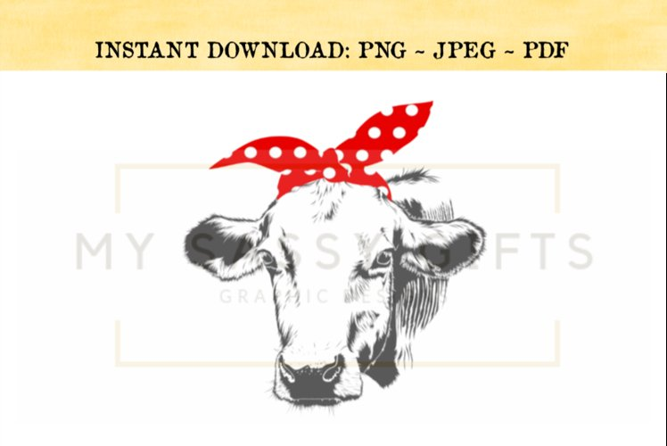 Cow With Red Polka Dot Bandana or Scarf Print PNG example image 1
