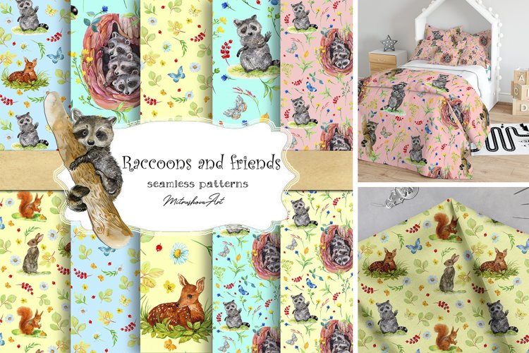Raccoons,Kids digital paper Seamless patterns example image 1
