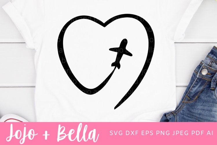 Plane Heart Svg | Heart Svg | Travel Svg example image 1