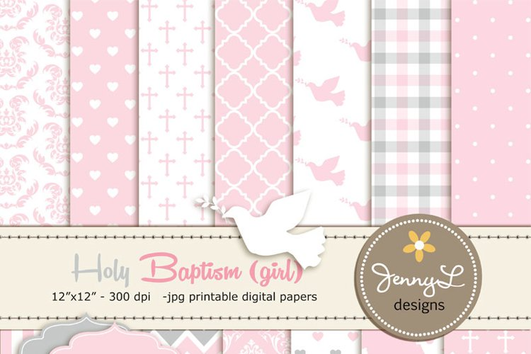 Girl Baptism Digital Papers and clipart example image 1