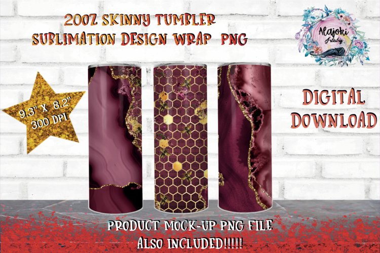 Tumbler design   Skinny Tumbler  Sublimation Ruby Bee Comb