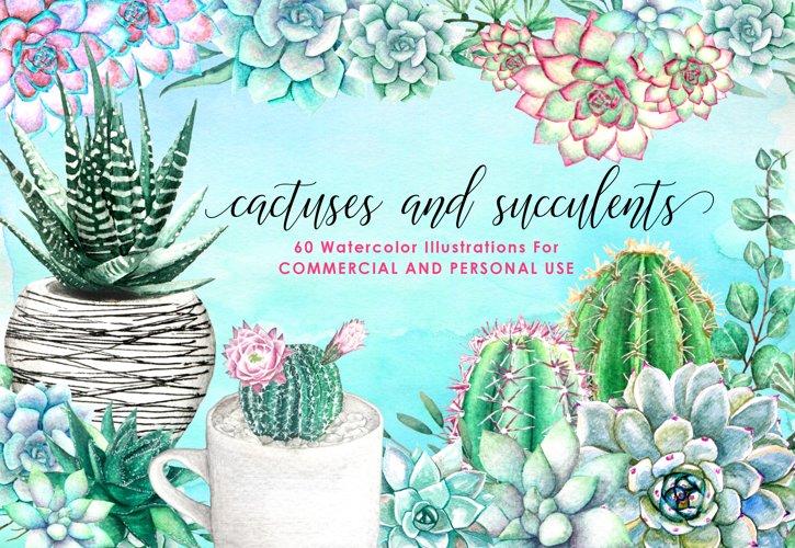 60 Watercolor Succulents and Cactus Bundle Watercolor Flowers