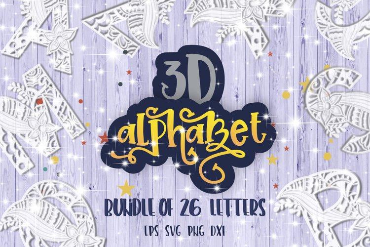 3D Alphabet Mandala layered bundle svg Papercut SVG Letters