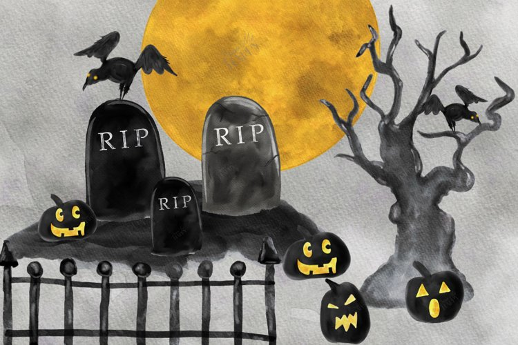 Halloween Clipart, Watercolor Halloween, Cemetery, Full Moon example image 1