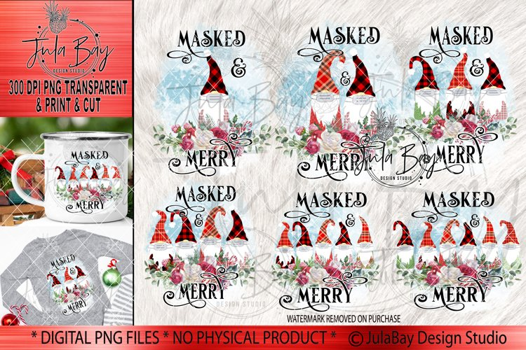 Pandemic Christmas Gnomes Sublimation Bundle Masked & Merry example image 1