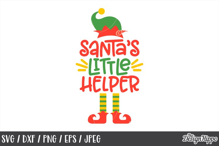 Christmas, Santa's Little Helper, SVG, DXF, PNG, Cut Files example image 1