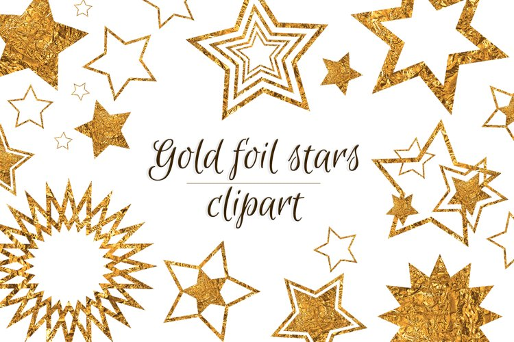 Gold stars clipart Invitation card design Gold foil stars example image 1