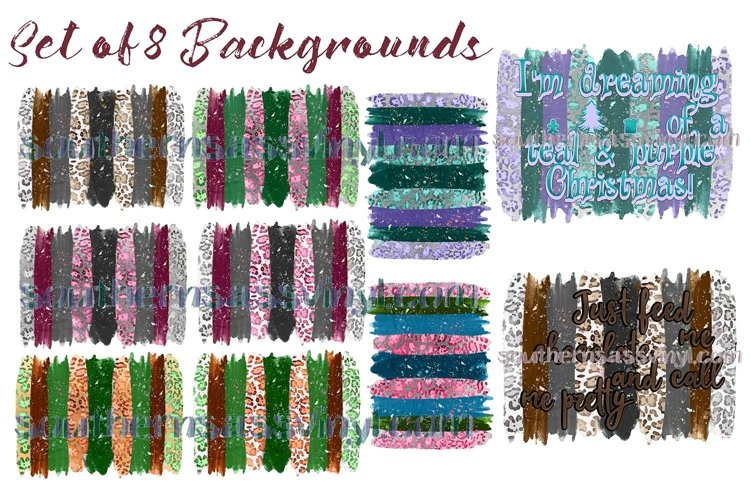 Leopard Print Background Collection Set of 8- Clipart Design example image 1