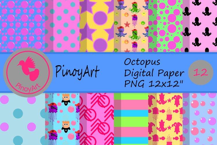 octopus digital paper,octopus scrapbook paper,octopus paper design,octopus png,jellyfish digital paper example image 1