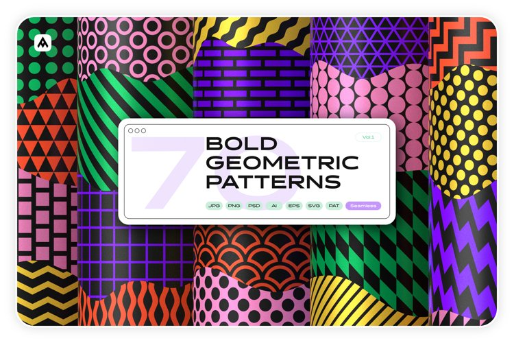 Bold geometric seamless patterns collection example image 1