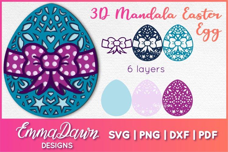 3D MANDALA EASTER EGG SVG 6 LAYERS, 3D Mandala SVG, 3D SVG example image 1