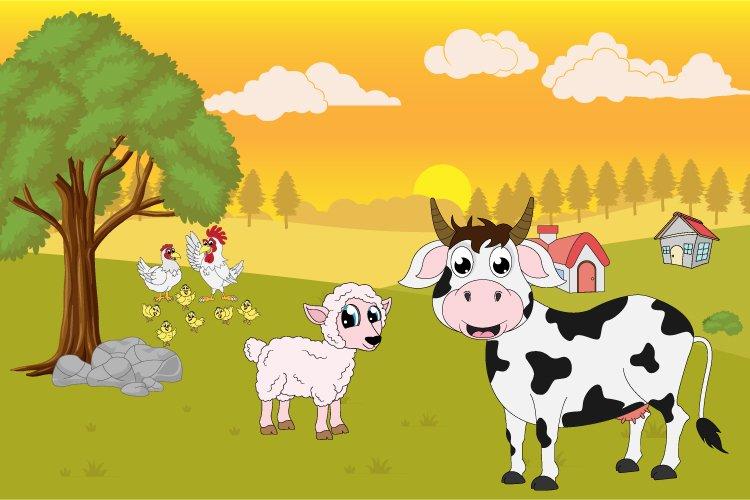 cute animal farm landscape example image 1