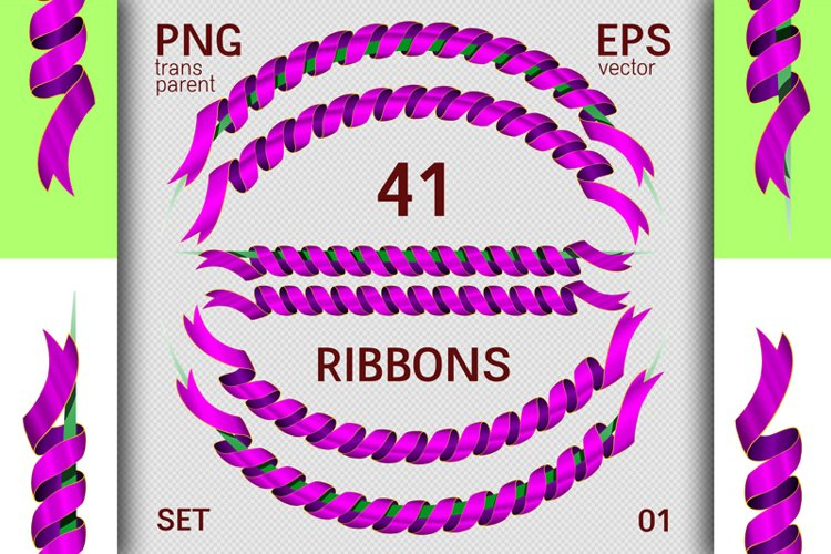 Set of 41 decorative ribbons. Spiral and straight ribbons.