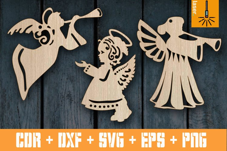 Set Christmas Angels decorations for Laser cut | Xmas Decor