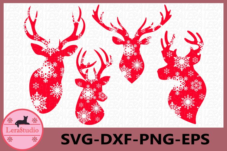 Deer Head Svg, Snowflake SVG, Merry Christmas, Antler SVG
