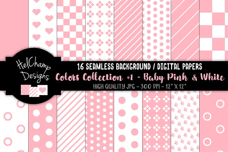 16 seamless Digital Papers - Baby Pink and White - HC080 example image 1