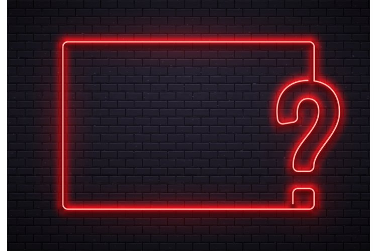 Neon question mark frame. Quiz lighting, interrogation point example image 1