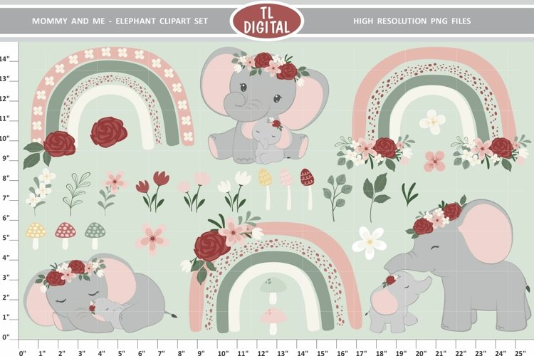 Mommy and Me Elephants Clipart Set 28 Graphics with rainbows