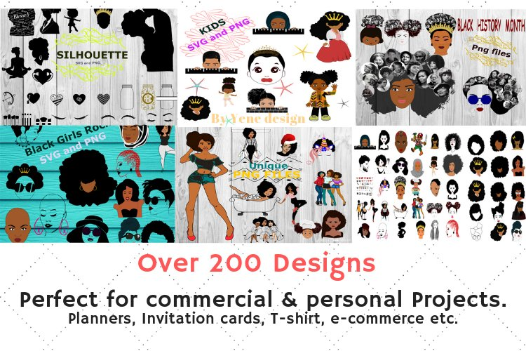 Afro Bundle - 200 Afro Designs and more - Afro svg, png