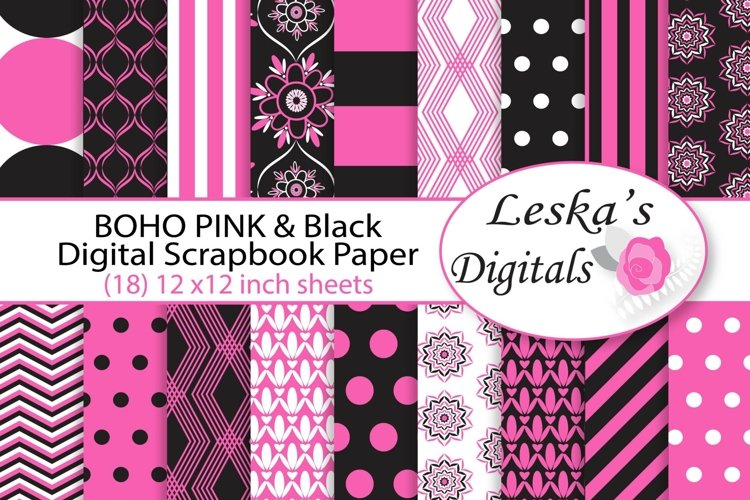 Pink and Black Digital Paper - Bohemian example image 1