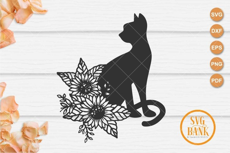 Sunflower cat svg, Floral Cat svg, silhouette cat example image 1