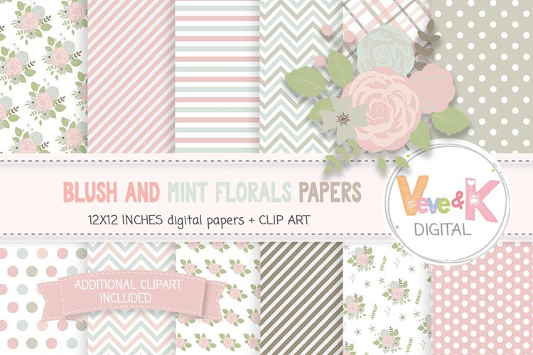 Blush and Mint Floral Papers, Flower Digital Papers, Floral Clipart, Digital Papers, Floral Images, Scrapbooking florals