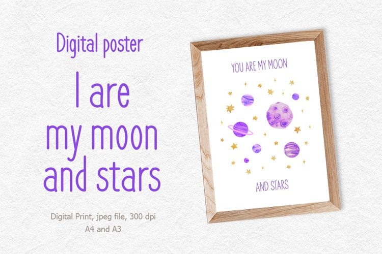Kids moon digital poster, i love you to the moon and back