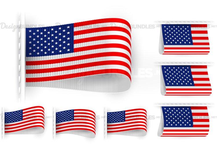 Vector USA Flag Tag Clothes Label Sticker Sewn Set