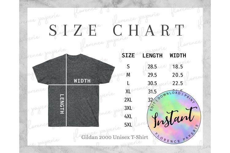 Gildan 2000 T-Shirt Size Chart, Unisex Heavy Cotton Tee Size example image 1