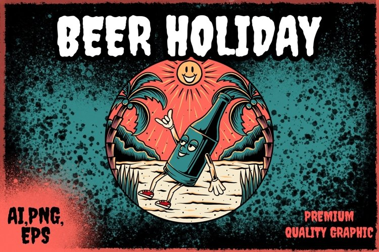 beer beach illustration example image 1