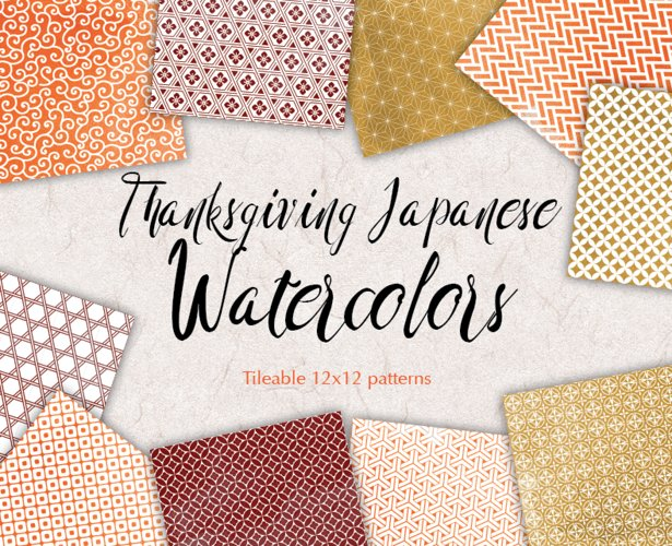 Thanksgiving Digital Paper Geometric Background Patterns example image 1