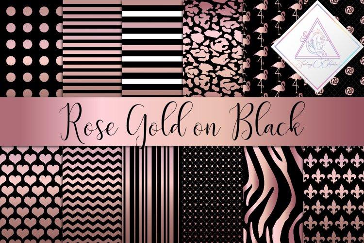 Rose Gold & Black Digital Paper
